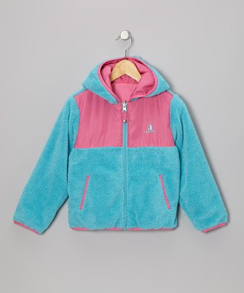 Turquoise & Pink Reversible Sherpa Coat - Toddler & Girls