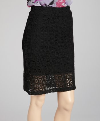 Black Lace Crocheted Skirt