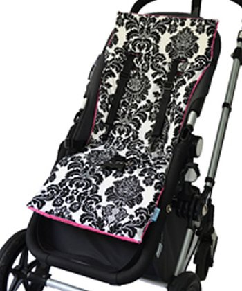 Black Damask Reversible Stroller Liner