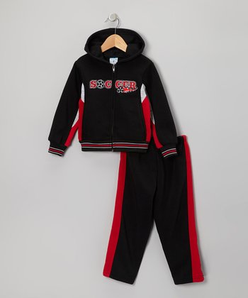 Black & Red 'Soccer' Zip-Up Hoodie & Pants - Toddler & Boys