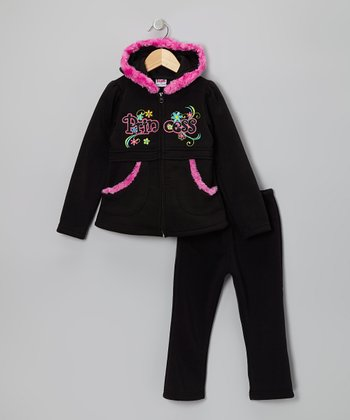 Black & Pink 'Princess' Zip-Up Hoodie & Pants - Toddler & Girls