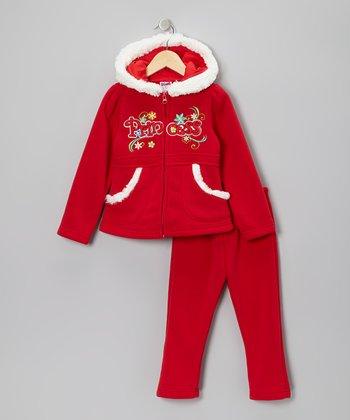 Red & White 'Princess' Zip-Up Hoodie & Pants - Toddler & Girls