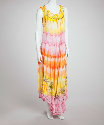 Yellow & Pink Tie-Dye Maxi Dress