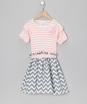 Gray Zigzag & Pink Stripe Dress - Toddler & Girls
