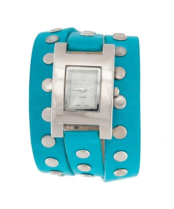Light Blue & Silver Studded Watch