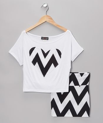 White & Black Heart Top & Zigzag Skirt - Girls