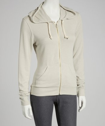 Light Gray Bonfire Zip-Up Hoodie - Women