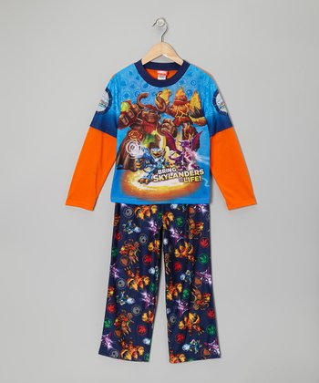 Navy & Orange Skylander Pajama Set - Boys