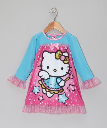 Pink & Aqua Hello Kitty Nightgown - Toddler