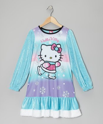 Aqua & Lavender Hello Kitty Nightgown - Girls
