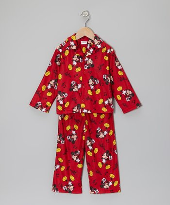 Red Mickey Button-Up Pajama Set - Infant & Toddler