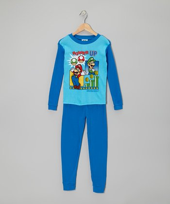 Blue & Aqua Mario Pajama Set - Boys