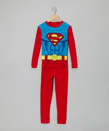 Red & Blue Superman Pajama Set - Boys