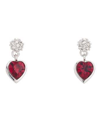 Silver & Red SWAROVSKI ELEMENTS Hearts A Fire Earrings