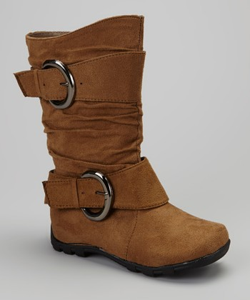 Tan Slouch Double-Buckle Boot