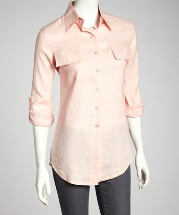 Pink Linen Button-Up