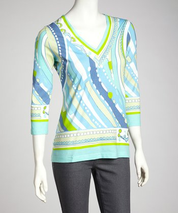 Blue & Aqua Cleo V-Neck Top