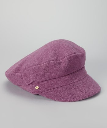 Purple Angora-Wool Blend Newsboy Cap