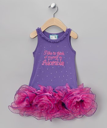 Purple & Pink 'Adorable' Tutu Dress - Infant, Toddler & Girls