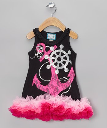 Black & Pink Lace Anchor Tutu Dress - Infant, Toddler & Girls