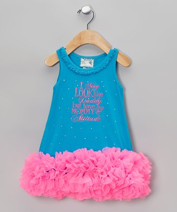 Blue 'Mommy's Attitude' Tutu Dress - Infant, Toddler & Girls