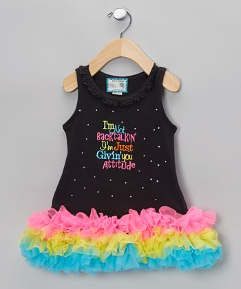 Black 'Givin' You Attitude' Tutu Dress - Infant, Toddler & Girls