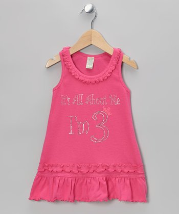Pink 'I'm 3' Ruffle Dress - Infant, Toddler & Girls