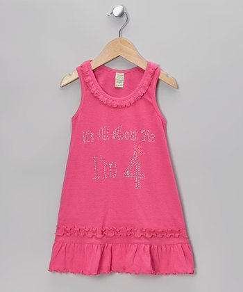 Pink 'I'm 4' Ruffle Dress - Toddler & Girls