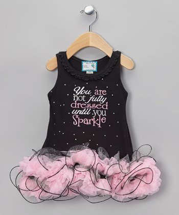 Black 'Until You Sparkle' Tutu Dress - Infant, Toddler & Girls