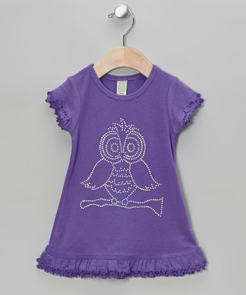 Purple Owl Ruffle Dress - Infant, Toddler & Girls