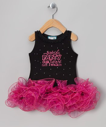 Black 'Party Don't Start' Tutu Dress - Infant, Toddler & Girls