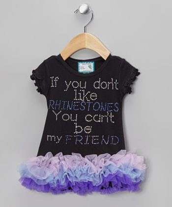 Black & Purple 'Rhinestones' Tutu Dress - Infant, Toddler & Girls