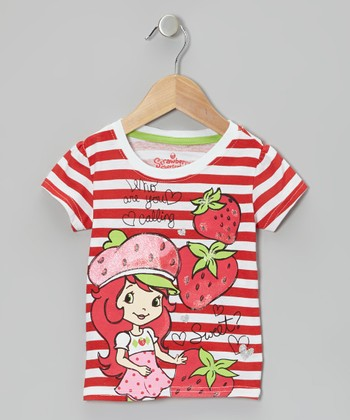 Red Stripe Strawberry Tee - Toddler