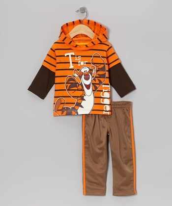 Orange Tigger Layered Hoodie & Brown Pants - Infant