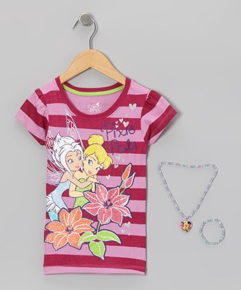 Pastel Purple Stripe Fairy Friend Tee Set - Girls