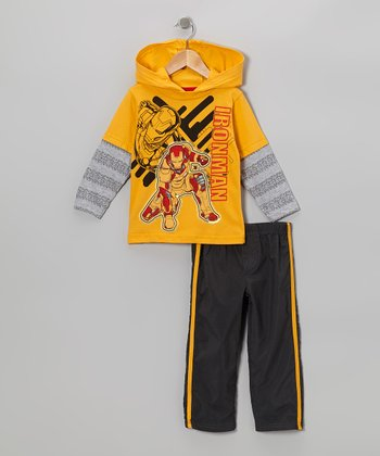 Yellow Iron Man Layered Hoodie & Gray Pants - Toddler