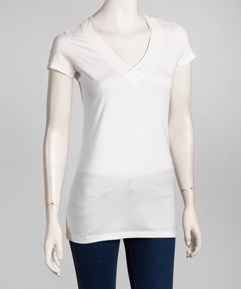 White Trim-Fit V-Neck Tee