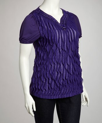 Purple Embellished Ruffle Top
