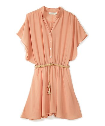Peach Belted Dress