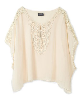 Natural Lace Crocheted Sidetail Top