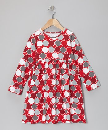 Red Classic Dots A-Line Dress - Infant & Toddler