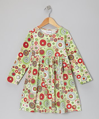 Lime Holly Dots A-Line Dress - Infant