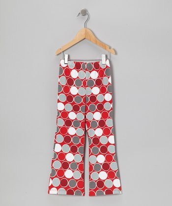 Red Classic Dots Bootcut Pants - Toddler & Girls