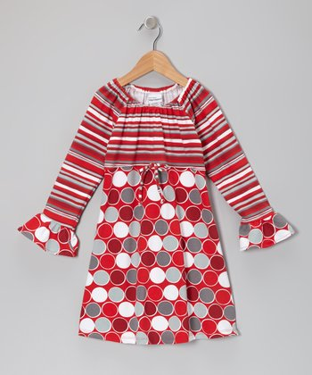 Red Classic Dots Ruffle Dress - Infant