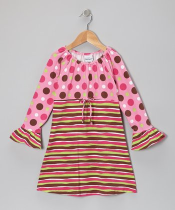 Pink Neapolitan Stripe Ruffle Dress - Toddler & Girls
