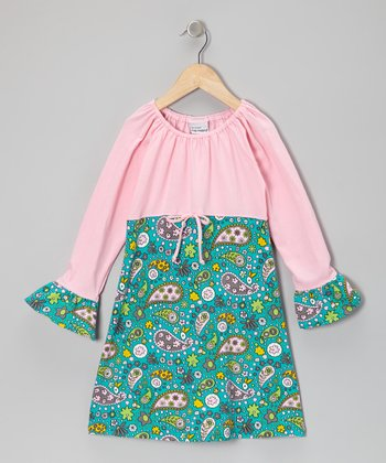 Pink Parisian Paisley Ruffle Dress - Toddler & Girls