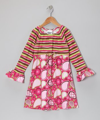 Pink Pear Pudding Ruffle Dress - Infant
