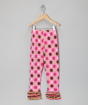 Pink Neapolitan Stripe Ruffle Leggings - Infant, Toddler & Girls