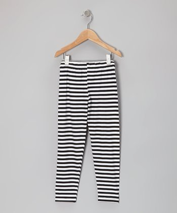Black & White Stripe Leggings - Infant, Toddler & Girls