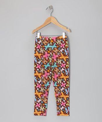 Brown Butterfly Party Leggings - Toddler & Girls
